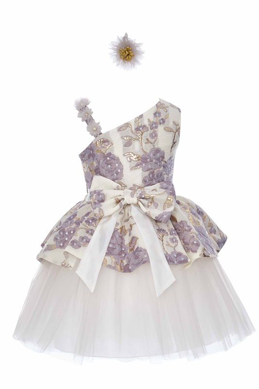 4/8 Years Girl Flower Patterned Jacquard Fabric Asymmetric Shoulder Detailed Grey Dress