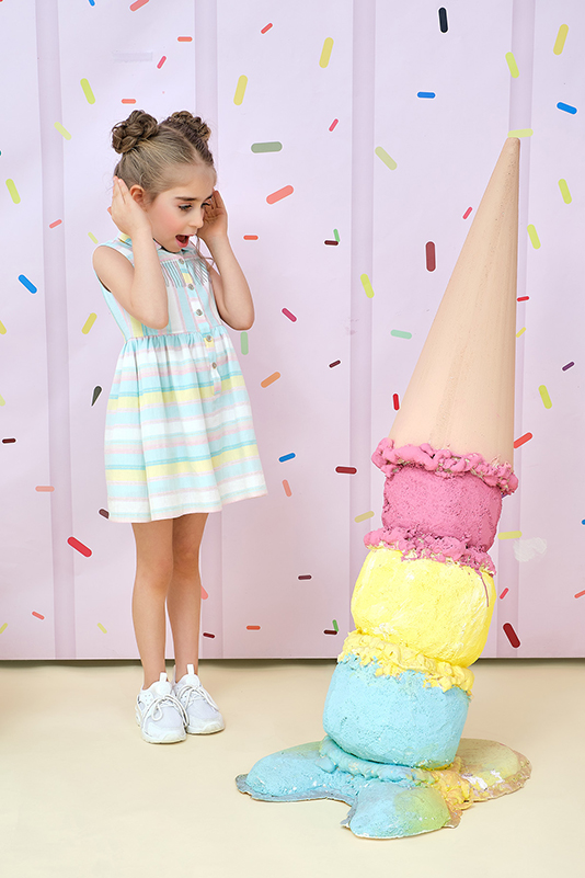 2/6 Years Girl Colorful Striped Powder Dress
