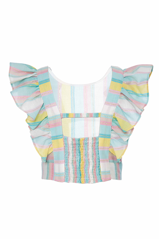 2/6 Years Girl Suit With Striped Shirt And Powder Trousers