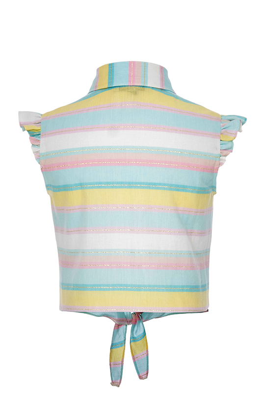 2/6 Years Girl Powder Short Suit With Chain Stripe Accessory