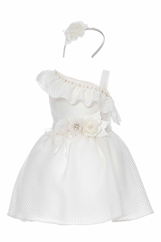 9/36 Months Baby Girl One-Shoulder Ecru Dress With Honeycomb Tissue Fabric