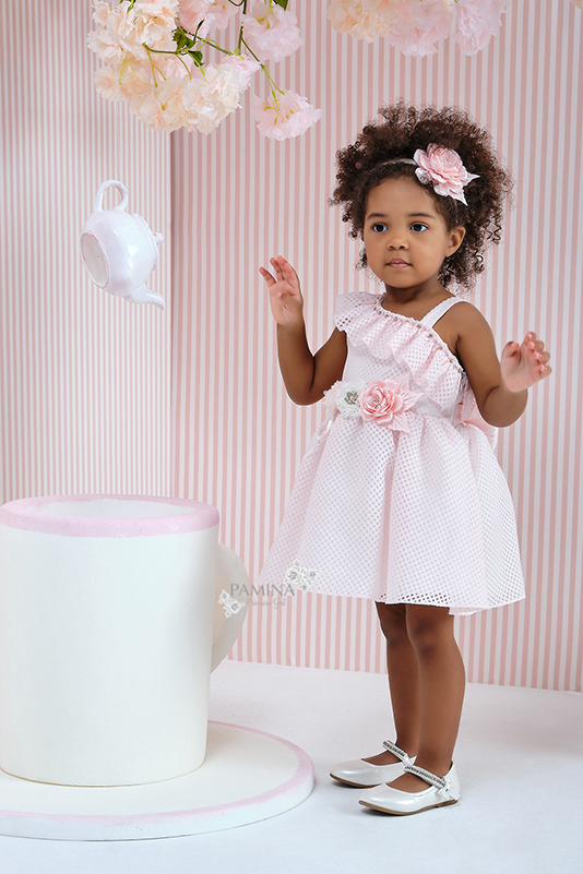 9/36 Months Baby Girl One-Shoulder Powder Dress With Honeycomb Tissue Fabric