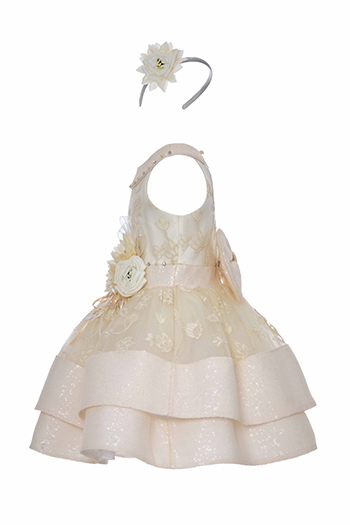4/8 Years Girl Sequin Fabric Detailed Halter Collar Lace Ecru Dress
