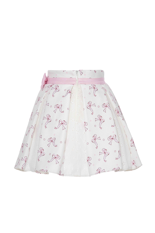 9/36 Months Baby Girl Tiny Bowknot Printed Brode Fabric Detailed Suit With Powder Skirt