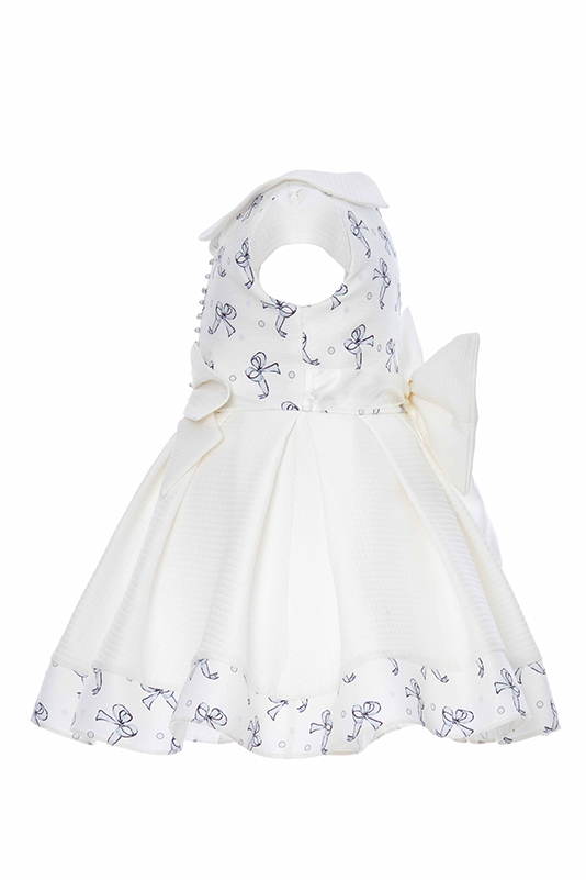 9/36 Months Baby Girl Tiny Bowknot Printed Blue Dress With Baby Collar