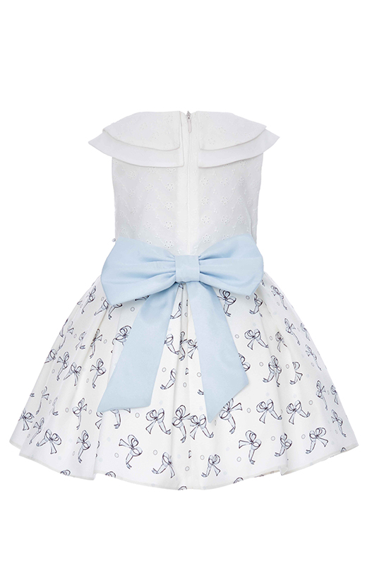 9/36 Months Baby Girl Tiny Bowknot Printed Blue Dress With Brode Fabric Detail