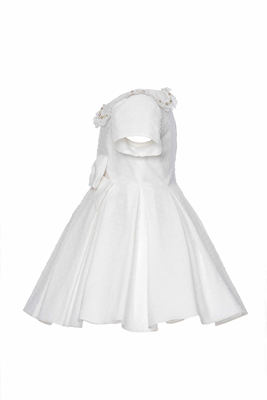 9/36 Months Baby Girl Baby Collar Ecru Dress With Bowknot Detail And Polka Dot Jacquard Fabric