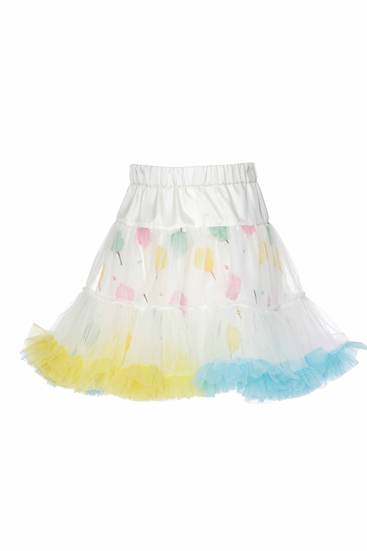 2/6 Years Girl Colorful Cotton Candy Themed Suit With Colorful Frilly Tulle Ecru Skirt And T-shirt