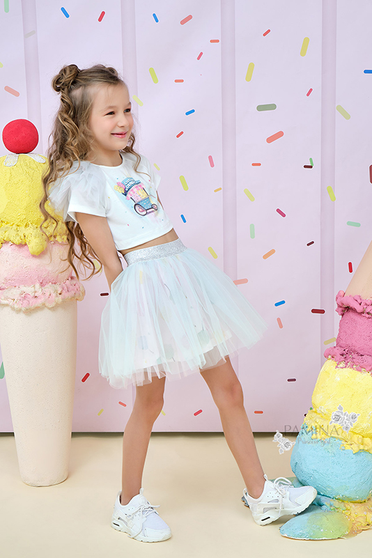 2/6 Years Girl Suit With Printed Crepe Fabric Tutu Skirt And Ecru T-Shirt With Tulle Details
