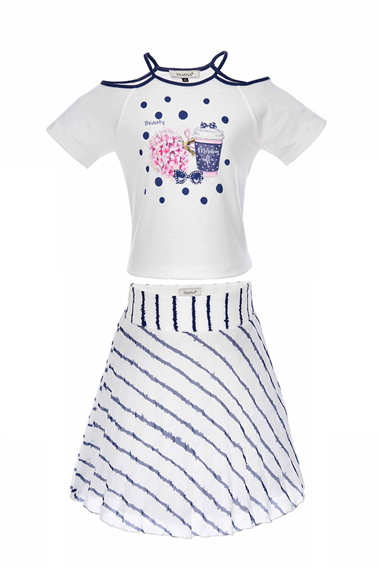 6/10 Years Girl Line Printed Suit With Navy Skirt