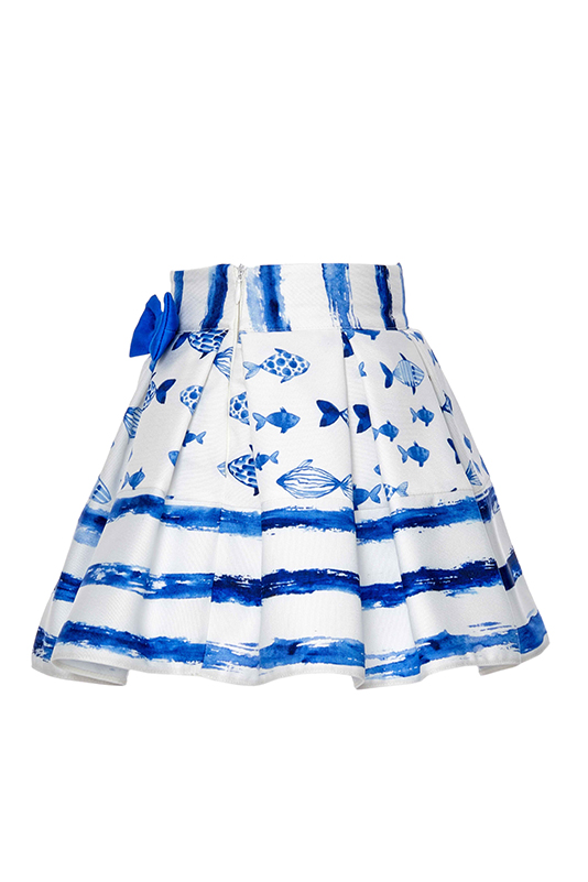 9/36 Months Baby Girl Cute Fish Themed Suit With Blue Skirt And Singlet