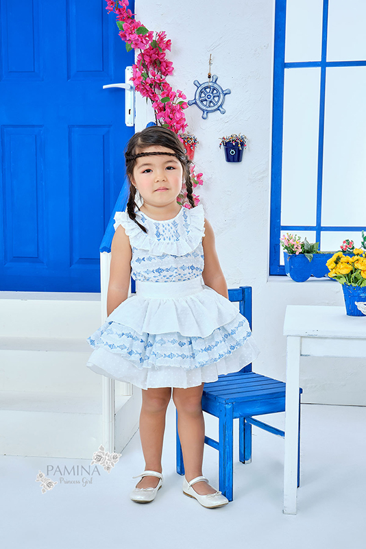 9/36 Months Baby Girl Cute Fish Themed Suit With Multilayer Blue Skirt And Blouse