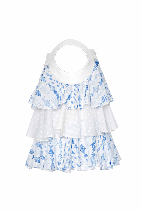 9/36 Months Baby Girl Cute Fish Themed Suit With Blue Chiffon Shorts And Blouse