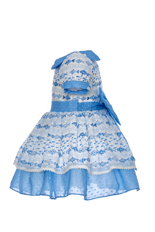 9/36 Months Baby Girl Cute Fish Themed Schiffon Printed Blue Dress With Multilayer Tulle Skirt