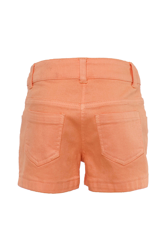 9/36 Months Baby Girl Suit With A Frill Detailed Brode Blouse And Denim Orange Shorts