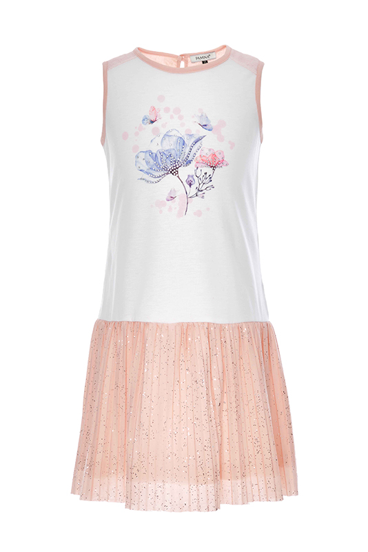 6/10 Years Girl Butterfly Printed Pleated Powder Dress With Silvery Printed Skirt