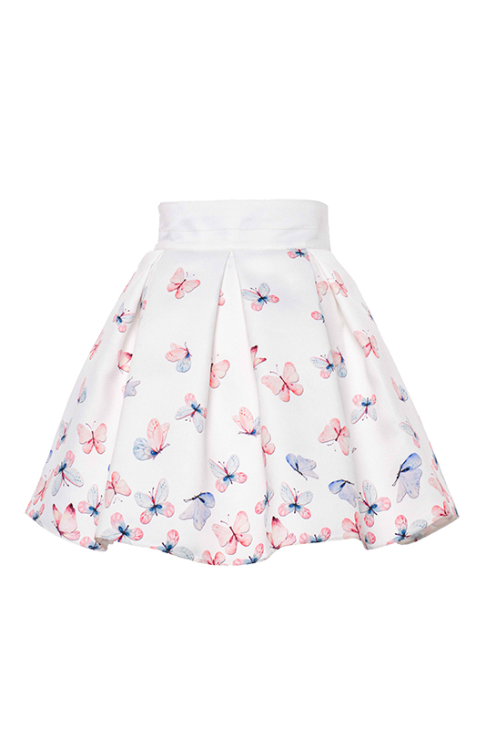 6/10 Years Girl Ecru Butterfly Printed Suit With Skirt