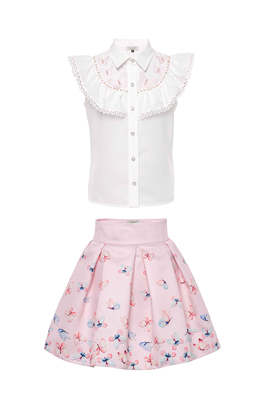 6/10 Years Girl Powder Butterfly Printed Suit With Skirt