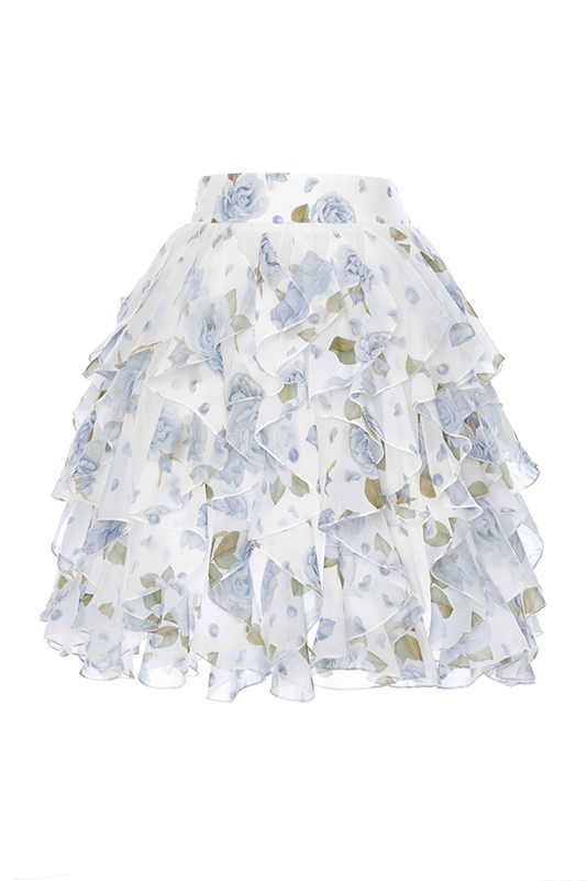 6/10 Years Girl Blue Rose Printed Flounce Cut Suit With Chiffon Skirt