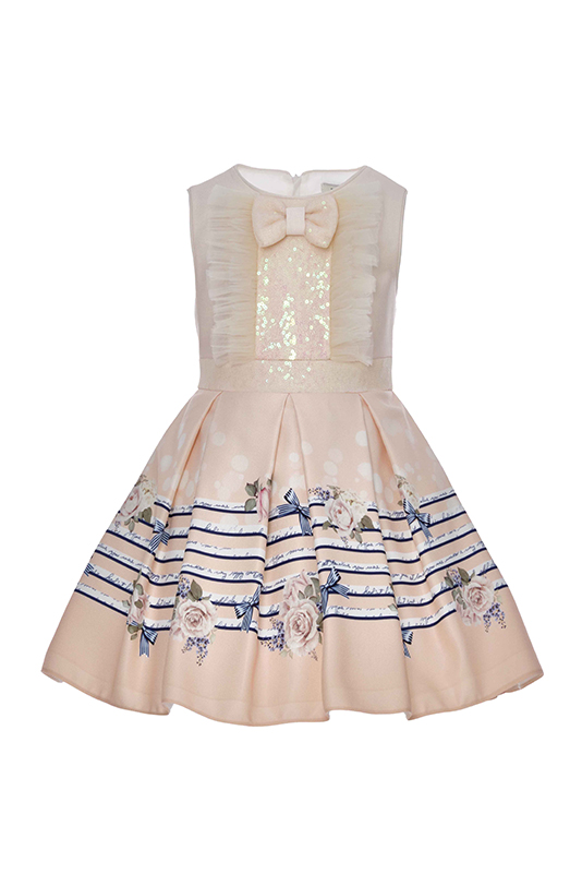 2/6 Years Girl Bowknot Detailed Beige Dress