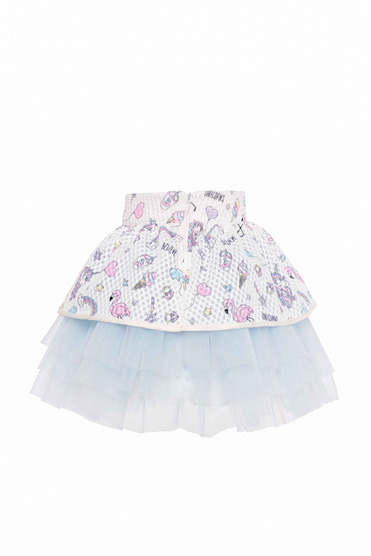 9/36 Months Baby Girl Ecru Suit With Unicorn And Tutu Skirt