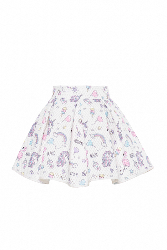 9/36 Months Baby Girl Suit With Ecru Unicorn And Skirt