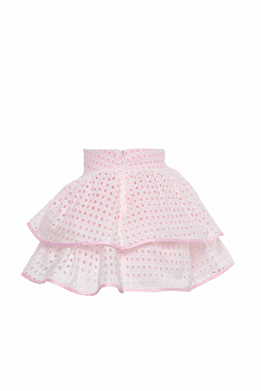 9/36 Months Baby Girl Brode Fabric Pink Suit With Skirt