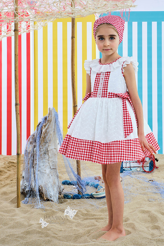 2/6 Years Girl Patterned Brode And Plaid Fabric Detailed Red Dress