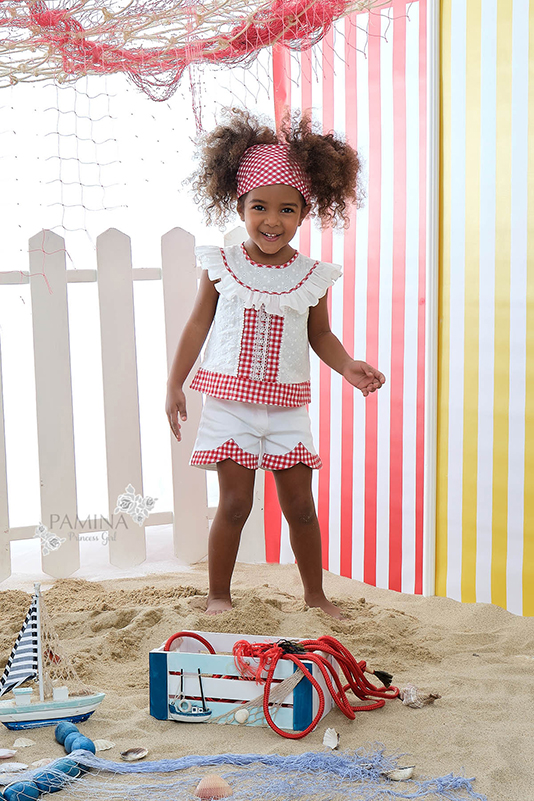 2/6 Years Girl Red Patterned Brode And Plaid Fabric Detailed Suit With Denim Shorts