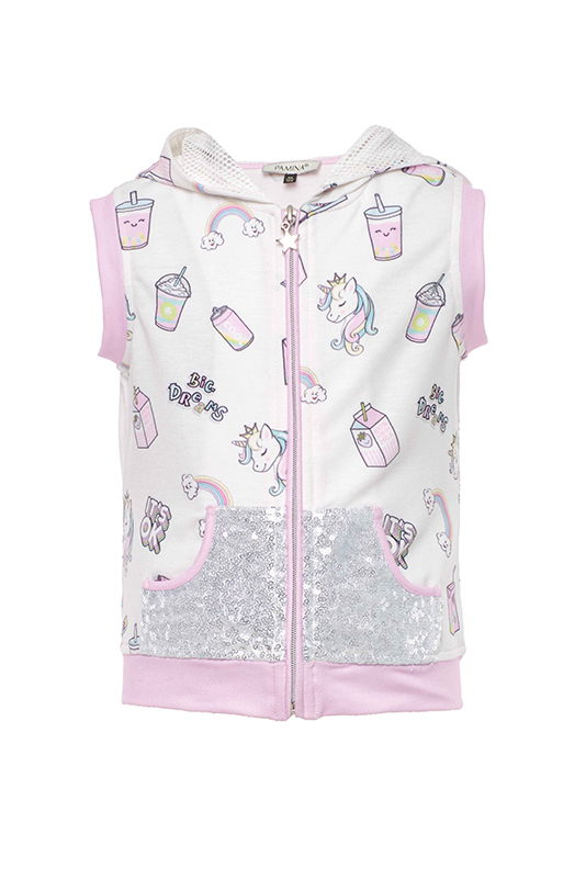 2/6 Years Girl Unicorn Printed Pink Track Suit