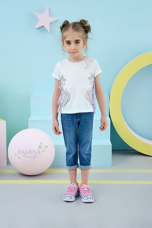 2/6 Years Girl Suit With Unicorn Printed Pink T-shirt And Jean Trousers