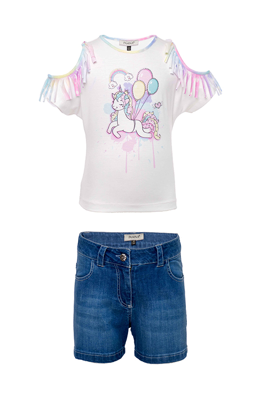 2/6 Years Girl Suit With Unicorn Printed Ecru T-shirt And Jean Shorts