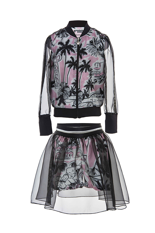 8/12 Years Girl Palm Themed Suit With Printed Organza Fabric Black Bomber Jacket And Skirt