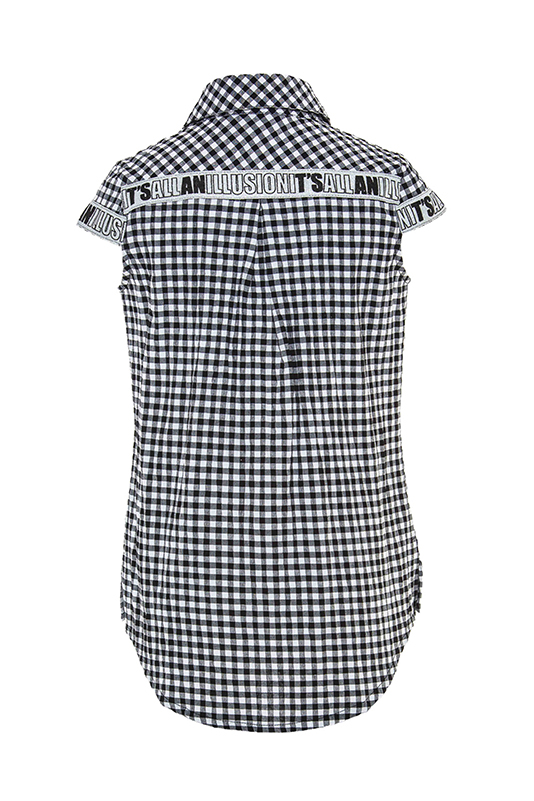 8/12 Years Girl Suit With White Denim Pants And Black Gingham Shirt