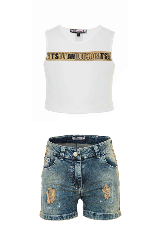 8/12 Years Girl T-Shirt And Suit With Navy Denim Shorts