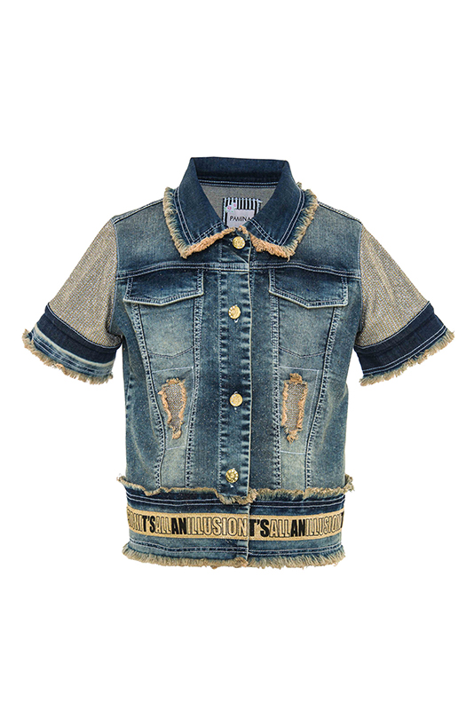 8/12 Years Girl Denim Suit With Short Sleeved Navy Jacket And Trousers