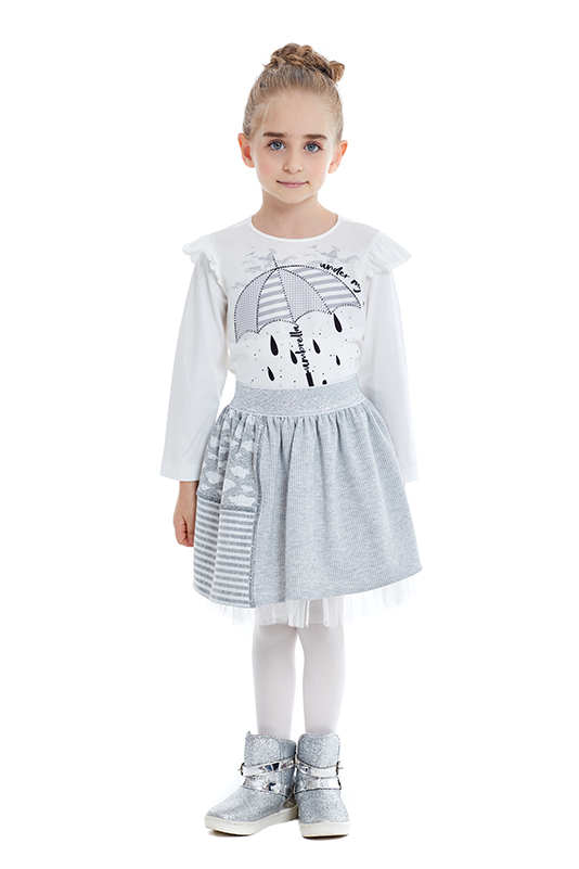 1/5 Years Girl Suit With Grey Skirt