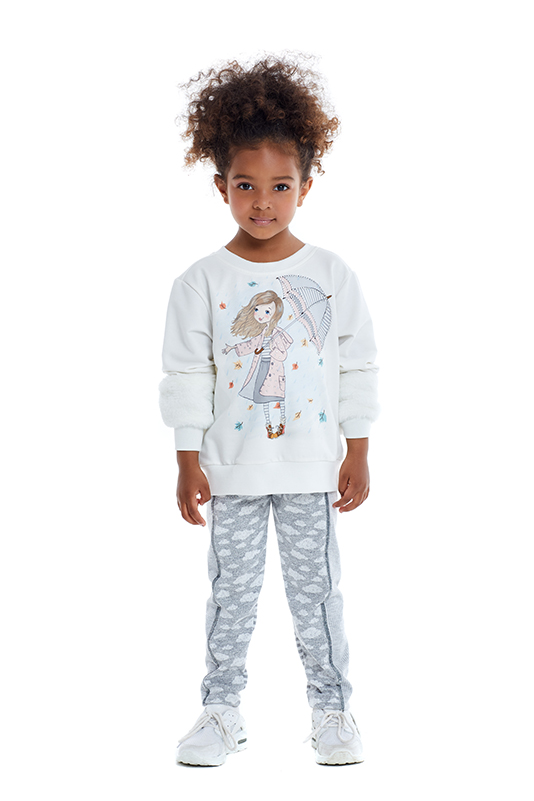 1/5 Years Girl Suit With Sweatshirt And Grey Trousers
