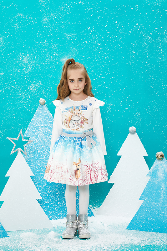 1/5 Years Girl Suit With Printed Long Sleeved T-shirt And Blue Skirt