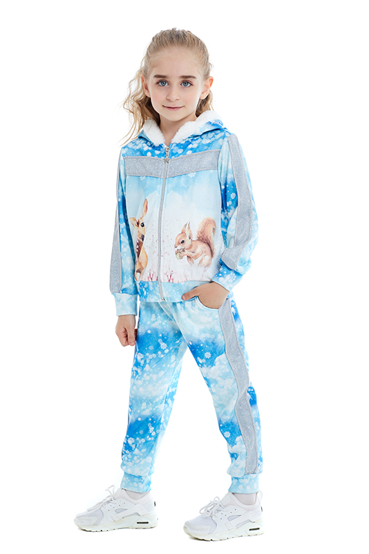 1/5 Years Girl Fur Detailed Blue Tracksuit