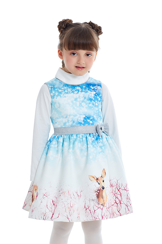 1/5 Years Girl Long Sleeved Blue Dress With Bowknot Detail
