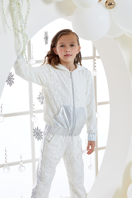 4/8 Years Girl Silvery Ecru Tracksuit Set With Lace
