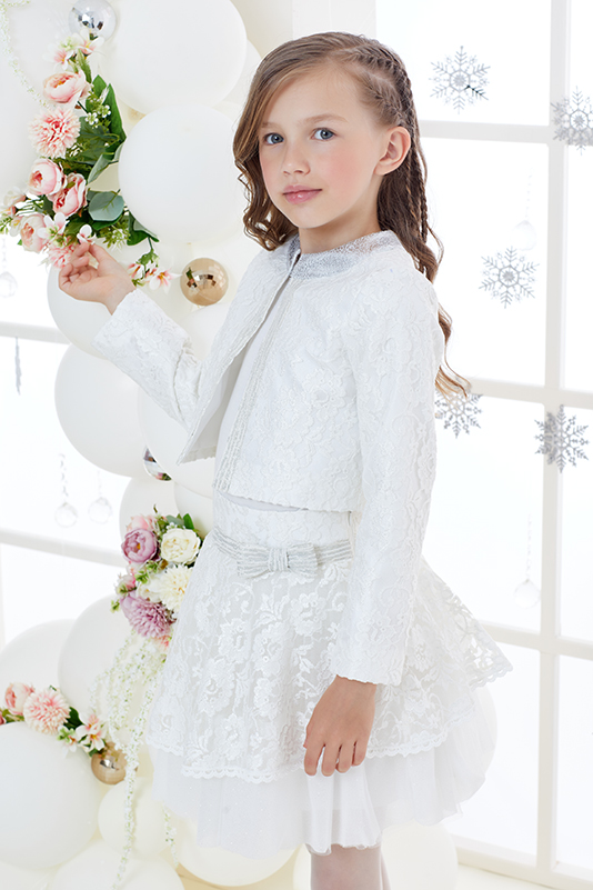 4/8 Years Girl Suit With Silvery Lace And Ecru Skirt