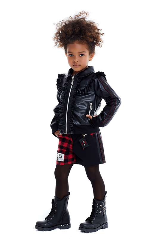 4/8 Years Girl Suit With Black Leather Jacket And Shorts