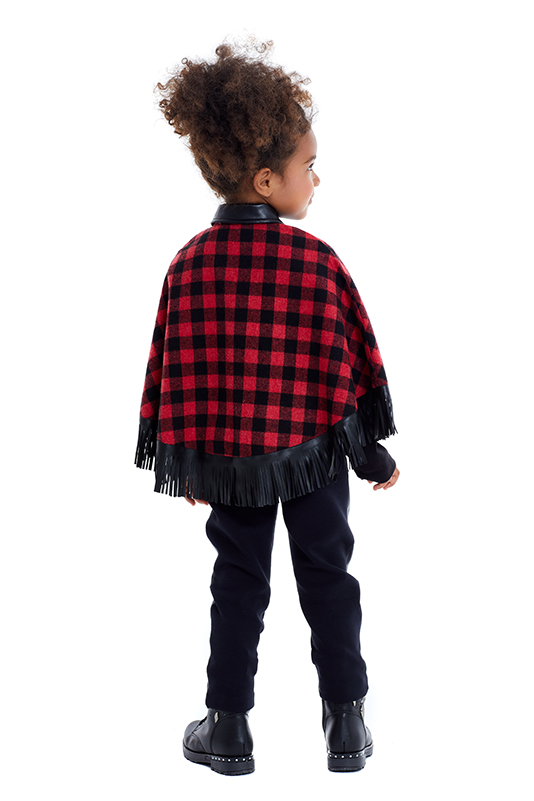 4/8 Years Girl Suit With Leather Trousers And Red Poncho