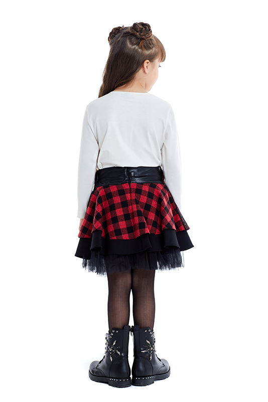 4/8 Years Girl Gingham Suit With Red Skirt