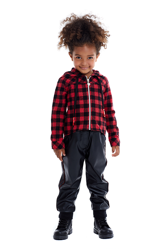 4/8 Years Girl Suit With Red Shirts And Leather Trousers