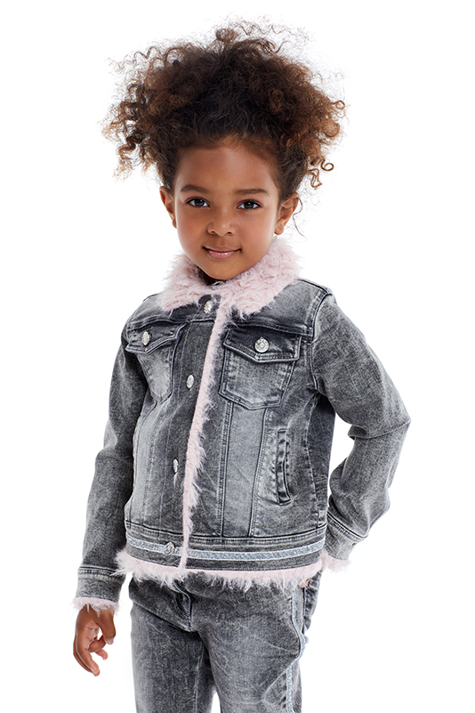 4/8 Years Girls' Glitter Grey Jeans Suit