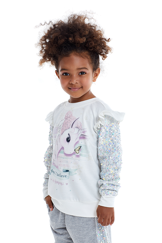 4/8 Years Girls Unicorn Printed Sequin Fabric Detailed Grey Tracksuit