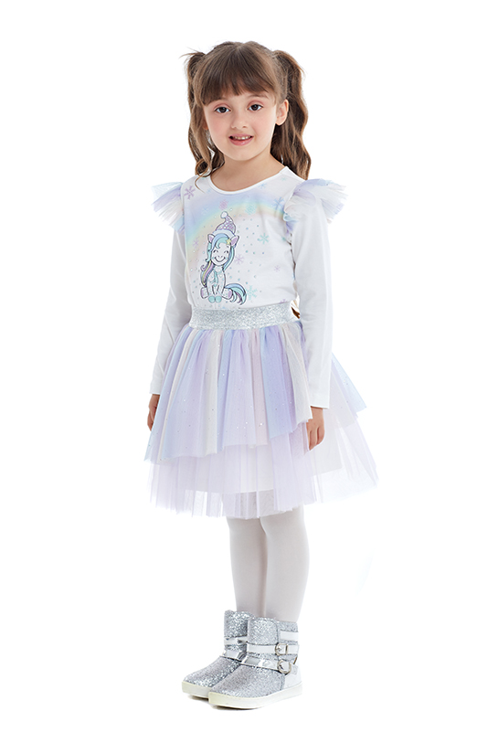4/8 Years Girl Unicorn Printed Colorful Tulle Lilac Skirt Suit